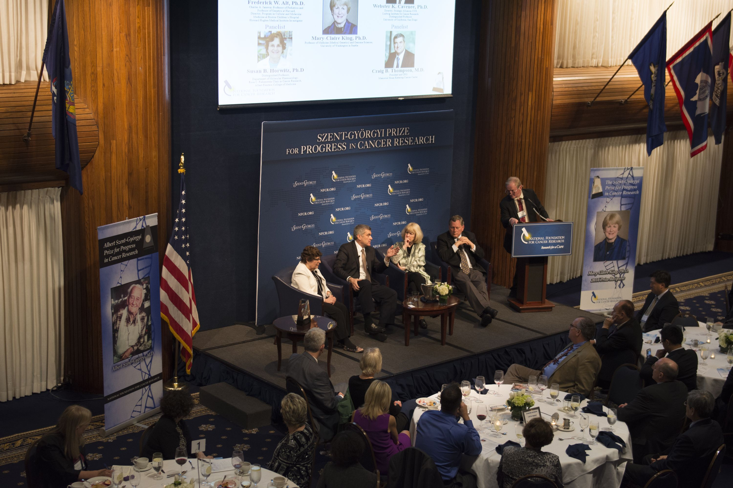 Panel member Memorial Sloan Kettering President and CEO, Dr. Craig Thompson, delivers a thoughtful response to a question from a dinner guest