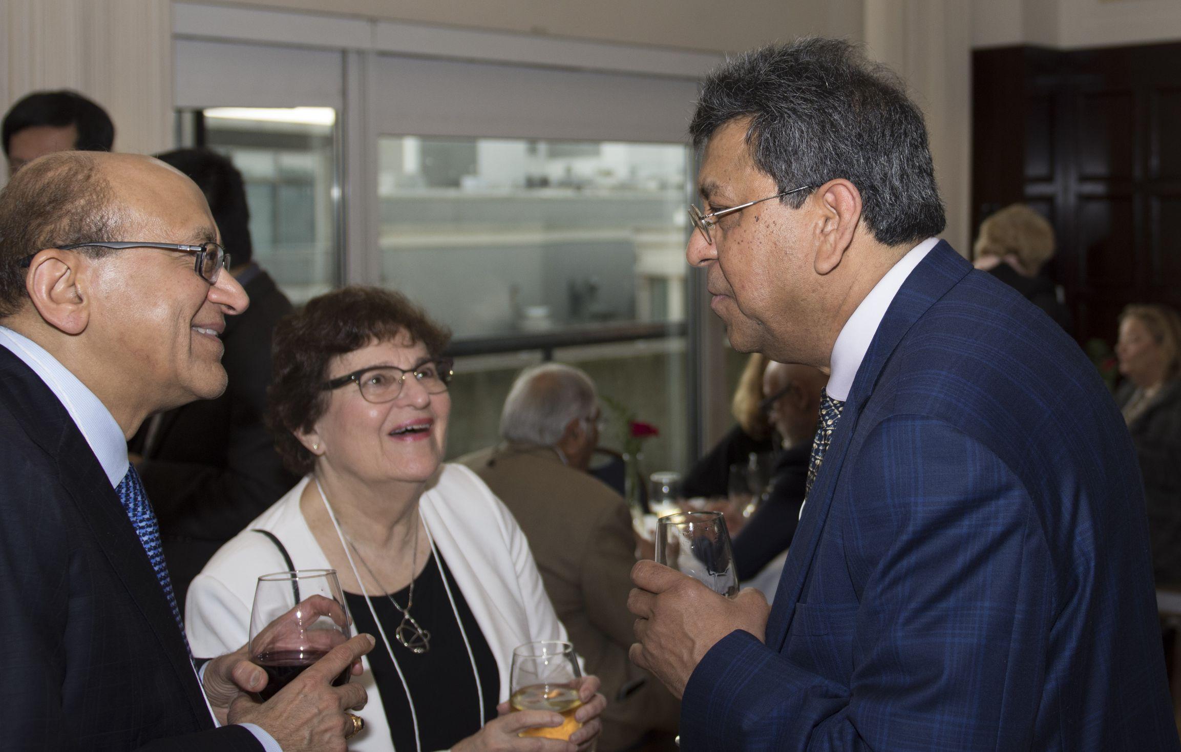 NFCR scientists Drs. Rakesh Jain of Massachusettes General Hospital and Susan Horwitz of Albert Einstein School of Medicine relish a moment with NAS member, Dr. Aravinda Chakravarti of John Hopkins University