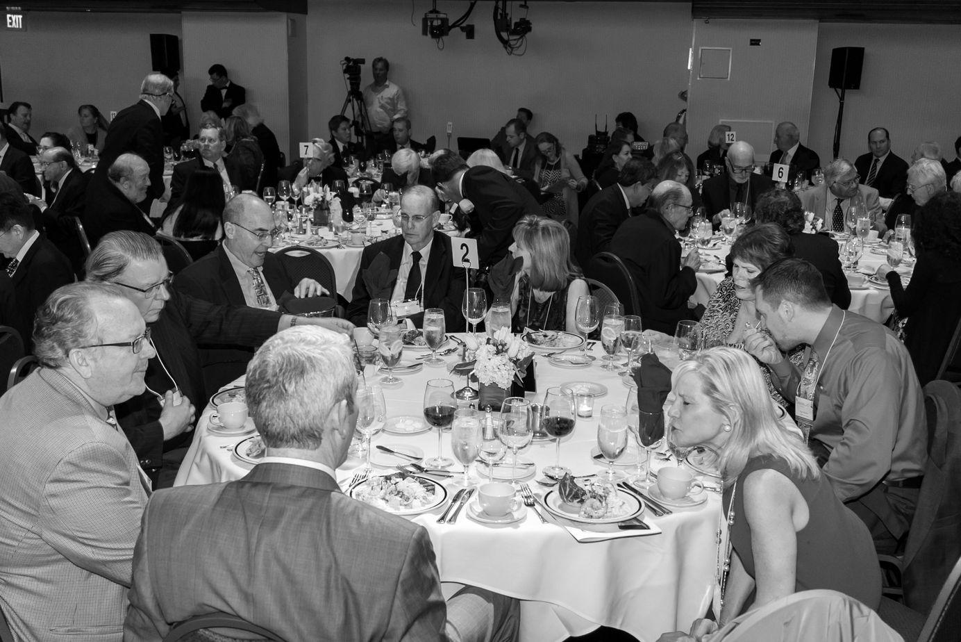 Calmark table enjoys conversation and cuisine