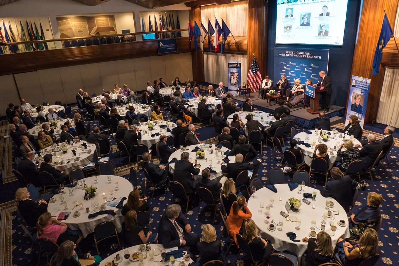 Bird's Eye View of Dr. Alt leading the Panel Discussion