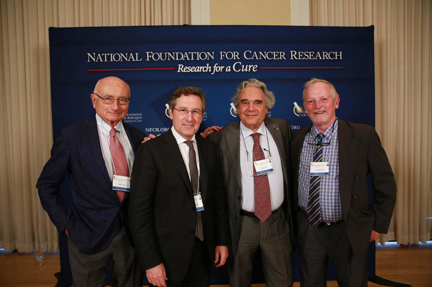 Dr. Michael Hall with past Szent-Györgyi Prize winners Peter Vogt, Carol Croce, and Frederick Alt