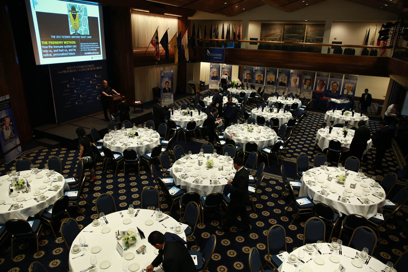 Preparation for the Szent-Györgyi Prize ceremony at the National Press Club