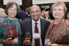 2017 Prize Selection Commitee members, Dr. Uta Francke (Stanford) and Dr. Zena Werb (UCSF), enjoy meeting Dr. Raju Kucherlapati, Harvard professor of genetics and renonwed leader in personalized medicine.