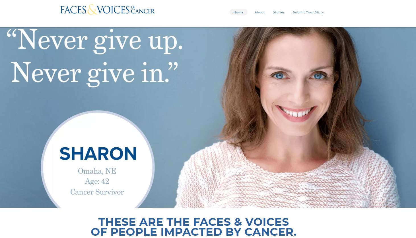 Face and voices of cancer Website Screenshot