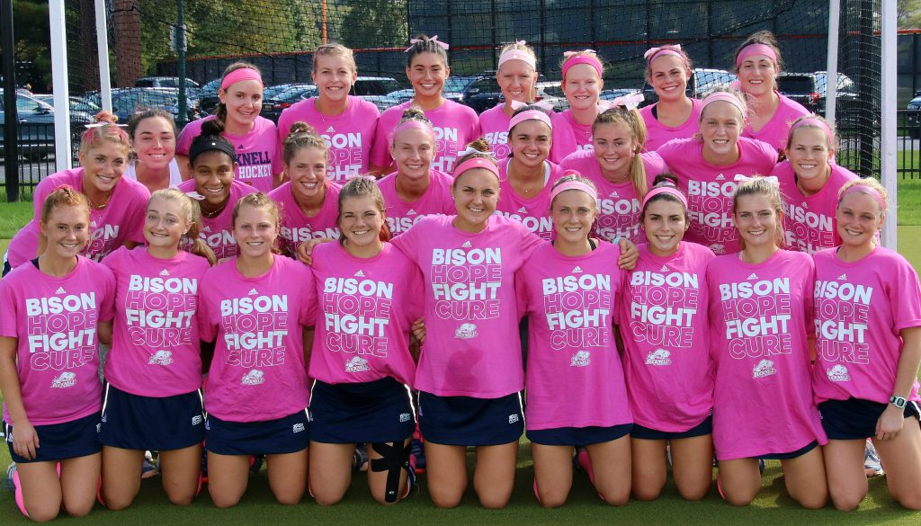 Bucknell Field hockey in their Pink Play4TheCure Shirts