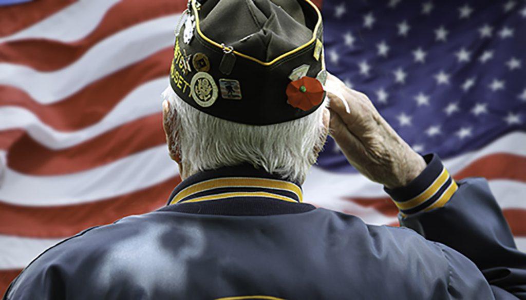 Older Veteran salutes the American flag