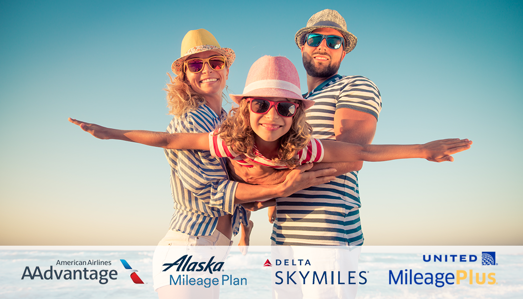 a family with panama hats looking down with a sky in backgroundw with airline logos under