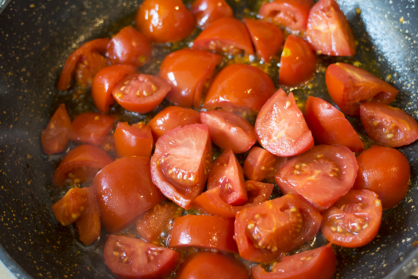 cooked tomatoes wok